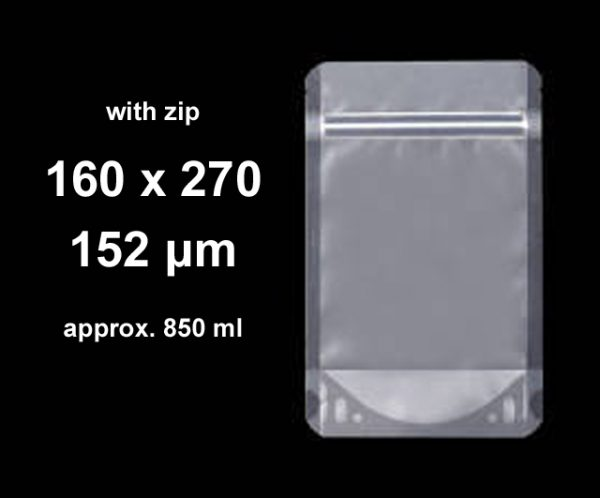Stand-Up w/ Zip Clear 160 x 270 (pkt 100)|Stand-Up Pouches|Barnco