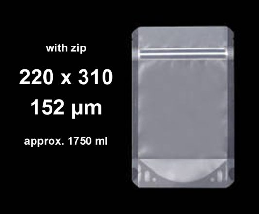 Stand-Up w/ Zip Clear 220 x 310 (pkt 100)|Stand-Up Pouches|Barnco